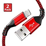 Fundro Samsung charger cable, Micro USB Cable Sync and Fast Charging Nylon Cord USB Micro Cable for Samsung Galaxy S7 Edge/ S7 S6 Note 5, Nexus, Android Charger and More (2-pack 3.3ft, red)