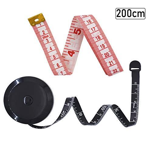 VEVIK Maßband Körper Schneidermaßband Bandmass Messband für Näh Schneider, Zwei Stücke von 200 cm und 150 cm