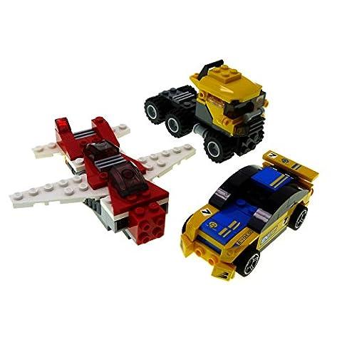 1 x Lego System 3er Set Modell 3 Modelle Auto LKW Truck weiß rot gelb blau Flugzeug Racer Creator incomplete unvollständig