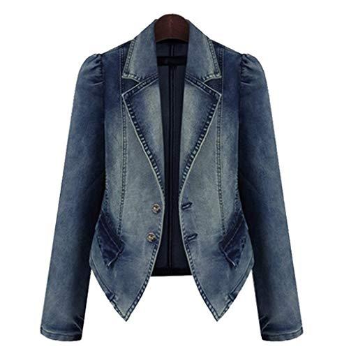 Nyuiuo Damen Jeans Mantel Mode Revers Frauen Casual Denim Casual ÜBergangsjacke ReißVerschluss Blazer Vintage Jeans Jacke großen Taschen und Knöpfen Plus Size Mode Revers Jeansjacke -