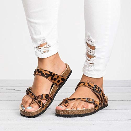 Voiks Women's Gladiator Sandals, Casual Ankle Buckle Strap Flat Slides, Summer Beach Shoes Flip-Flops