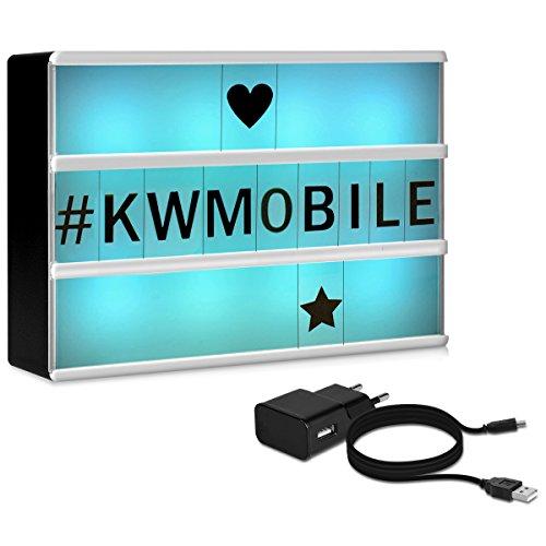 Kwmobile lightbox luminoso cambia colore - illuminazione in 7 colori con 126 lettere nere - lavagna luminosa luce led a6 - light box usb e batteria