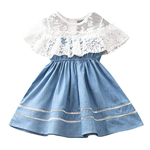 Livoral Mädchenkleid Blume Spitze Prinzessin Kleid Kleinkind Kind Baby Cowboy Party Schönheitswettbewerb(Blau,110)