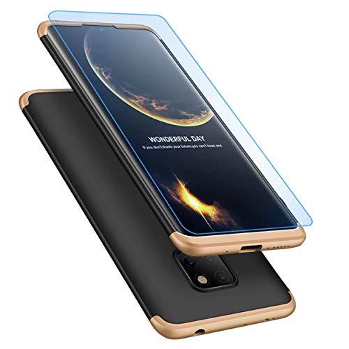 Huawei Mate 20 Pro Hülle + Displayschutzfolie, Lanpangzi Schutzhülle PC Hartschale 360 Grad Full-Cover Anti-Schock HandyHülle mit Screen Protector,Gold+Schwarz