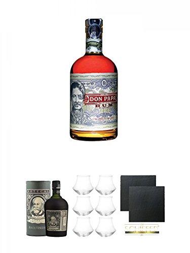 Don Papa Philippinen Rum 0,7 Liter + Diplomatico Botucal Reserva Exclusiva 12 Jahre mit Tube Venezuela 0,7 Liter + Botucal Rum Gläser 6 Stück + Schiefer Glasuntersetzer eckig ca. 9,5 cm Ø 2 Stück