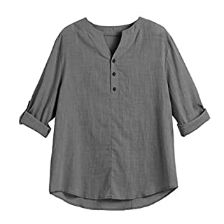 Anglewolf Mens Casual Long Sleeves Shirts Shirt T-Shirts Tees Button Placket Top Comfortable Soft T-Shirt Jacket for Ventilation(Dark Gray,L)