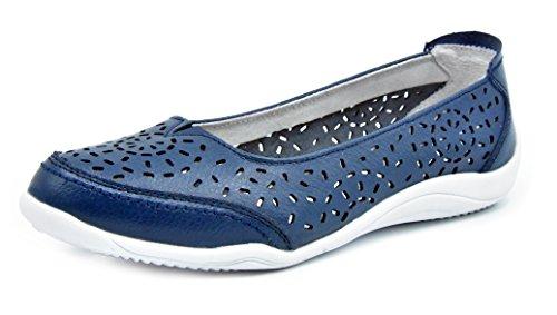 Bailarinas/Mary Jane Merceditas para Mujer, Zapatos Plano Verano para Caminar, Zapatillas de Ballet de Piel Mocasines Transpirables Cómodos Moda Loafers Zapatos de Conducción para Señoras Navy-5