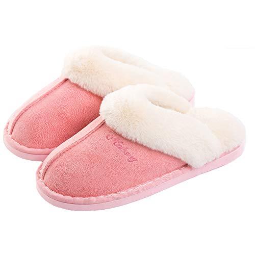 Pantofole scamosciate da donna interne casa morbida autunno inverno memoria schiuma pavimento indoor outdoor rosa 36 37