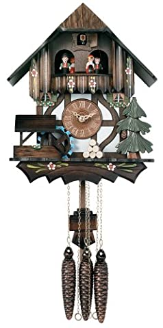 River City Clocks One Day Musical Cuckoo Clock Cottage with Dancers and Moving Waterwheel - 12 Inches Tall - Model # MD400-12P