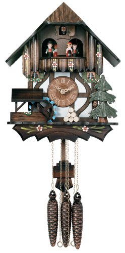 River City Clocks One Day Musical Kuckucksuhr Cottage mit Tänzer und beweglichen Wasserrad-30,5cm hoch-Modell # MD400-12P - Cottage, Cuckoo Clock