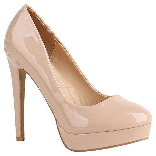Damen Schuhe Peeptoes Pumps Plateau Stilettos High Heels Abendschuhe 156941 Nude Lack 38 Flandell
