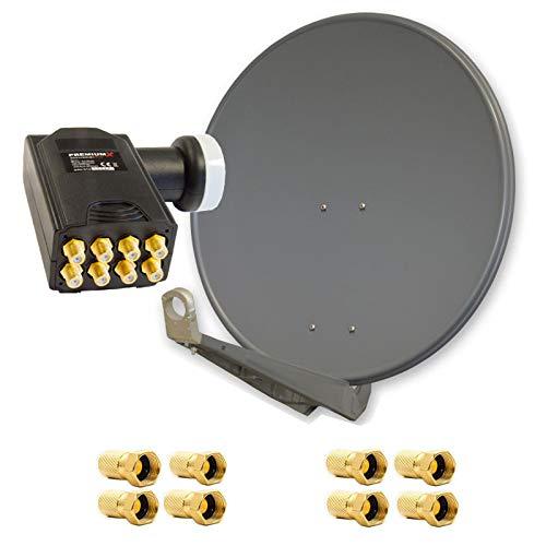 PremiumX DELUXE85 Satellitenantenne 85 cm Aluminium in Anthrazit Offset Antenne HDTV 3D 4KPremiumX Deluxe Octo LNB Sat