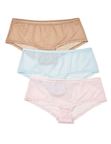 Iris & Lilly Hipster Damen aus besticktem Mesh, mit Wellenkante, 3er-Pack, Mehrfarbig (Candy Pink/ Washed Blue/ Natural), Medium