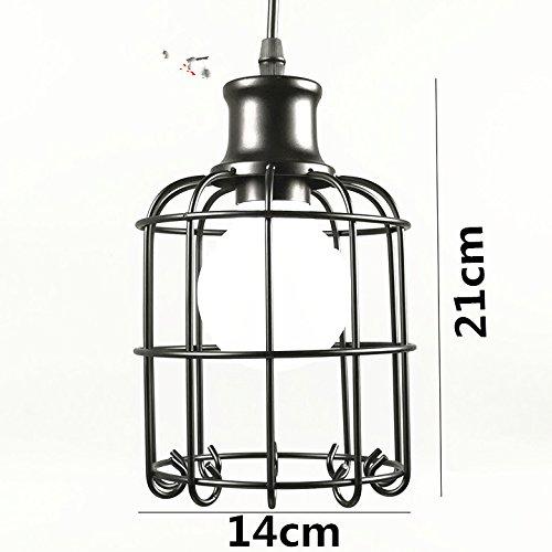 Yaojiaju Retro Leuchten, Vintage Pendelleuchte LED Lichter 5 Arten Schwarz Eisen Käfig Lampenschirm Lager Stil Retro Innenbeleuchtung LED (Design : 2)