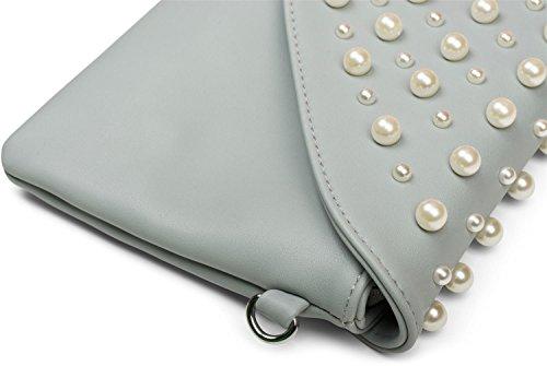 styleBREAKER Envelope Clutch im Kuvert Design mit großen und kleinen Perlen, Abendtasche, Damen 02012217, Farbe:Silber Hellblau