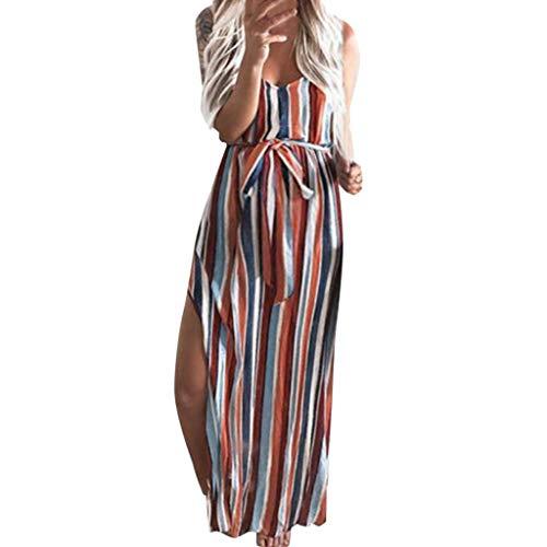 Junjie Frauen Mutterschaft Schwangerschaft Gurt ärmellose Gabel Eröffnung Print Streifen langes Kleid Tshirt Oberteil Bluse Leggings festlich Sommerkleid kurz -