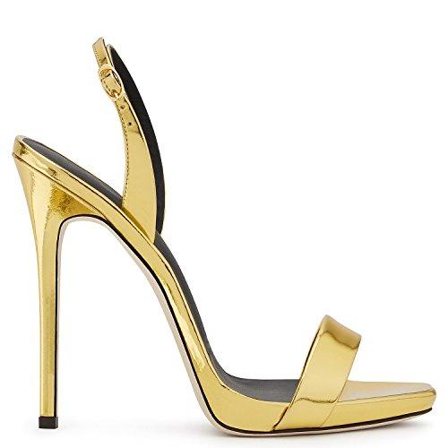 uBeauty Damen Knöchelriemchen Sandalen mit Schnalle Peep Toe Stiletto Sexy Sandalen Große Größe Schuhe Gold 38 EU (Strap Schuhe Stiletto Heel Ankle)