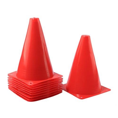 BLJRGS 10 Stücke Training Verkehr Kegel 7 Zoll Mehrzweck Sport Fußball Aktivität Kegel für Kind und Erwachsene (Rot)