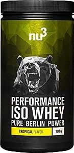 nu3 - Performance Iso Whey - 700g - Poudre saveur Tropicale - Pur Isolat de Protéine de Lactosérum - 83% de Protéines - Excellente Solubilité et Qualité Pure - Sans Aspartame ou Sucres Ajoutés
