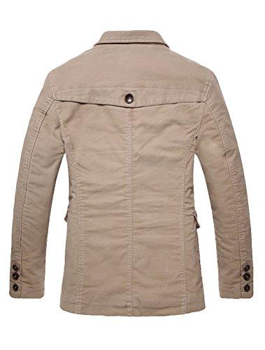 Vogstyle Hommes Pardessus Slim Fit Lapel Outwear le bouton d'homme Cotton Trench Coat Jacket 8715 Kaki