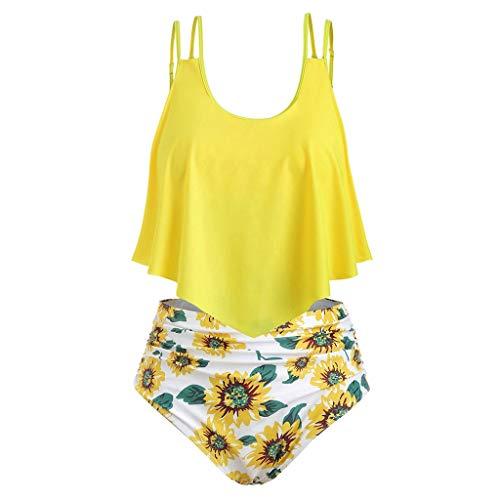 (BURFLY Women's Large Size Sleeveless Ruffled High Waist Tummy Sunflower Print Bikini Two Piece Swimsuit)
