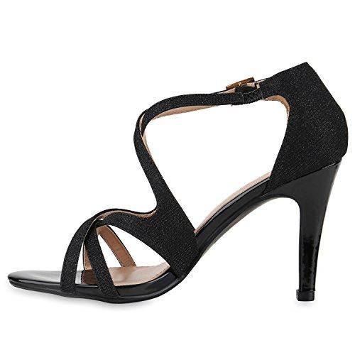 Damen Riemchensandaletten | Glitzer Sandaletten Metallic | Stilettos High Heels | Sommer Party Schuhe | Abiball Hochzeit Brautschuhe Schwarz Schwarz Gold