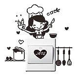 Tapete,OHQ Küche Lichtschalter Aufkleber Cute Cook Vinyl PVC Wandtattoo Wandaufkleber Wohnkultur (Schwarz)