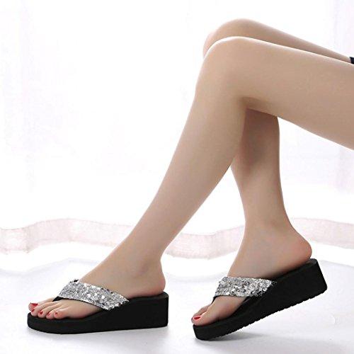 Amlaiworld Thongs Femme, Été Sequins Sandales Aanti-Dérapantes Été Pantoufle D'Intérieur Flip-Flops en Plein Argent
