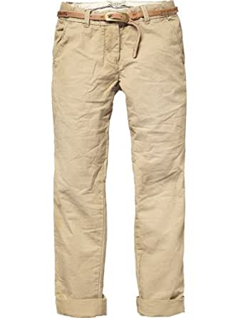 Scotch R'Belle Mädchen Hose/ Lang chino pant solid colours + studded belt - 11540780400, Gr. 104 (4), Braun (73 - tabacco)