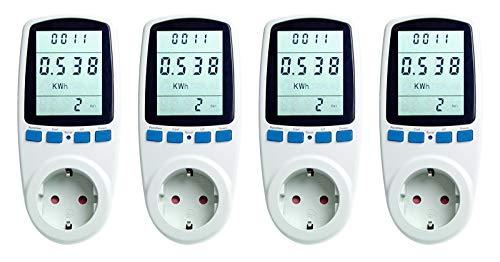 Asigo 4er Set Energiekosten-Messgerät I Stromtarif einstellbar I Energiekostenmessgerät I Stromverbrauchszähler I Deutscher Hersteller