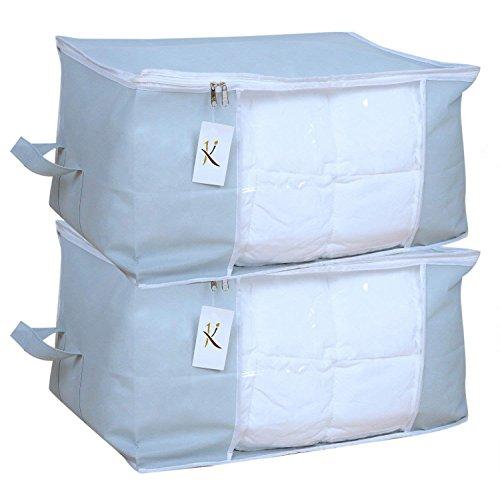 Kuber Industries 2 Piece Non Woven Underbed Storage Bag Set, Grey (Underbedorga05)