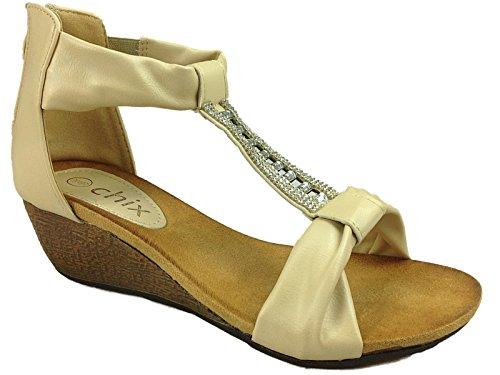Foster Footwear , M盲dchen Damen T-Bar 2873:Beige