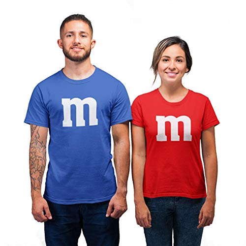Süßes M Paar Pärchen Kostüm Karnevals & Faschings Herren und Damen T-Shirt Mann Blau X-Large/Frau Rot - Süßes Paar Kostüm