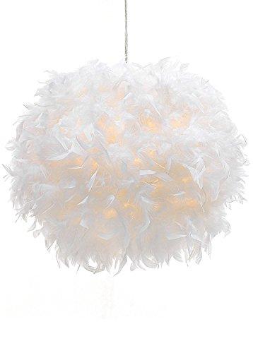 Vcheng Suspension boule en plumes Blanc 30 cm