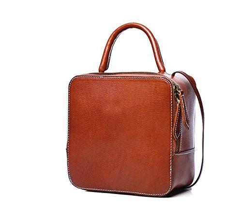 Leder Frau Retro-gegerbtem Leder Damen Laptop-Taschen geschleudert die kleine Party-Tasche Brown