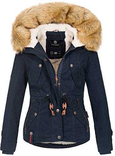 Navahoo warme Damen Designer Winter Jacke Winterjacke mit Kapuze und Teddyfell B643 [B643-Pearl-Navy-Gr.XXL]