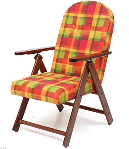 Fauteuil chaise chaise longue Amalfi en bois inclinable 4 positions coussin rembourré H 105 cm séjour cuisine salon canapé multicolore