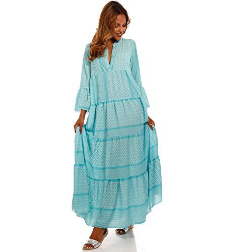 YC Fashion & Style Damen Boho Maxikleid Strandkleid Freizeit Sommer Party Kleid Hippie Kleid Plus Size Made in Italy (One Size, Türkis)