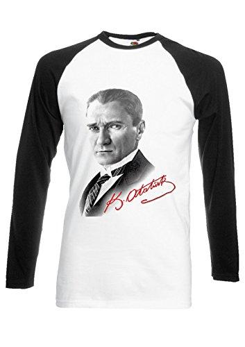 Mustafa Kemal Atatürk Turkey Türkiye Novelty Black/White Men Women Unisex Long Sleeve Baseball T Shirt-XXL -