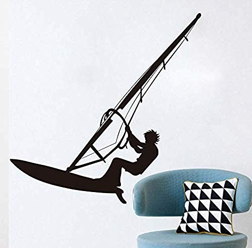 Wandaufkleber Surfen Windsurfer Wandtattoo Schwarz Vinyl Selbstklebende Meer Sport Windsurf Liebhaber Junge Teen Room Wall Decor Sticker59X59cm