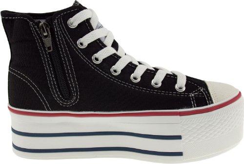 Maxstar C50 7 trous avec fermeture Éclair haute et plateforme Baskets chaussures Noir - noir