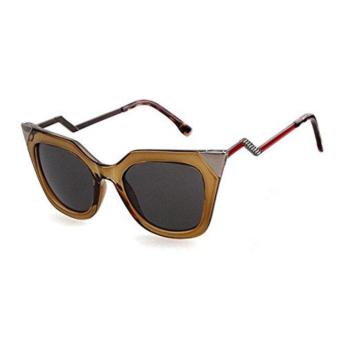 Z&YQ Sonnenbrille Frauen Stil Straße Mode gehörnte Metall Ornament squiggly Retro Brille , C