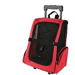 GOTOTOP Portátil Bolsa Transportadora de Viaje de Mascotas Mochila Rodante para Gato Perro Caja de Equipaje (Rojo)