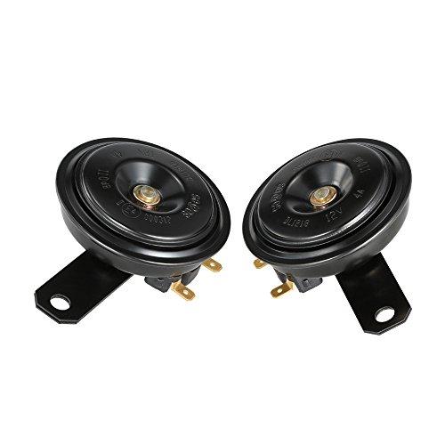KKmoon 2Pcs 12V 110DB Ultra lautes Horn Doppelton Lautsprecher universell für Motorrad PKW LKW Van