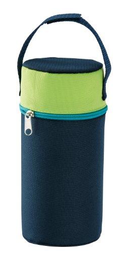 Rotho Babydesign Isolierbox mit Stoffbezug, Für Weithalsflaschen, 10,5 x 10,5 x 22,2 cm, Pearl Blue (Dunkelblau), 300650020