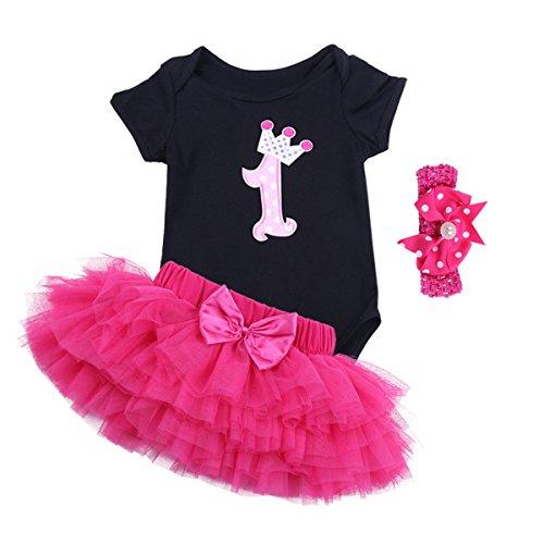 Tutu Tank (iiniim Neugeborenes Baby Mädchen Bekleidung Set Kurzarm Shirt+ Tütü Röckchen+Kopfband Schwarz+Rose XL(80-86/12-18 Monate))