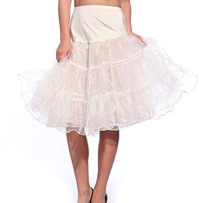 "25"" / 27"" 50s Vintage Retro Rockabilly Petticoat Skirt, Net Prom Hoopless Pettiskirt Crinoline Underskirt Ivory"