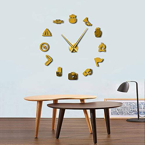 ACYKM Schwarz 27inch Unterschiedliche Besetzung stille DIY Wanduhr Medizin Brust Trompete Pfeife Kompass Werkzeuge Room Decor benutzerdefinierte Big Time Clock - 27 Besetzung