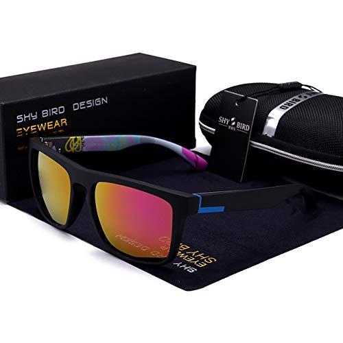 LKVNHP Hohe Qualität Polarisierte Männer Sonnenbrille Aluminium Magnesium Sonnenbrille Fahren Brille Rechteck Shades Für MännerSchwarz Und Lila
