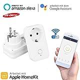 Clever Stecker WiFi-Fernbedienung Steckdosenadapter EU erLeistung Steckdosen APP Stimme Steuerung,kein Hub erforderlich,kompatibel für Apfel Homekit Alexa Google Home Amazon Echo (EU)